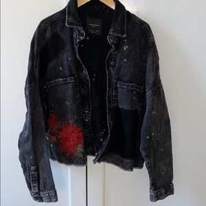 Zara embroidered cropped denim jacket